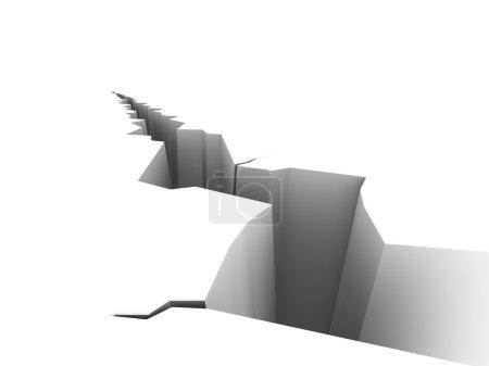 Photo pour Illustration d'une grande fissure sur une surface blanche. Veuillez consulter mon portfolio pour plus de la série. - image libre de droit