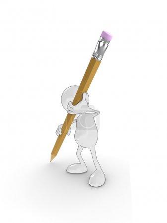 Photo pour Personnage de dessin animé 3D tenant un gros crayon, écrire sur une surface blanche. Veuillez consulter mon portfolio pour plus de la série. - image libre de droit
