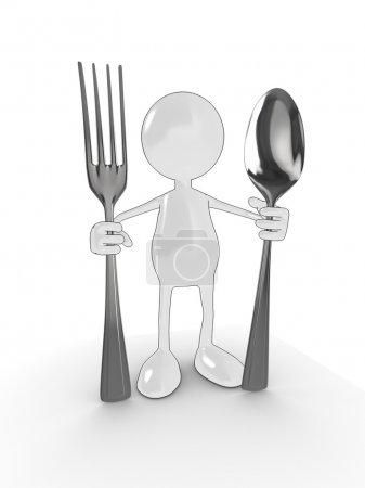 Photo pour Personnage de dessin animé 3D avec cuillère et une fourchette. Veuillez consulter mon portfolio pour plus de la série. - image libre de droit