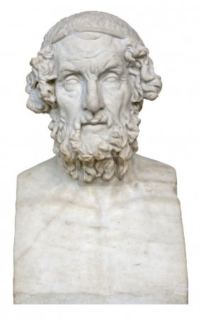 White marble bust of the greek poet Homer isolated...