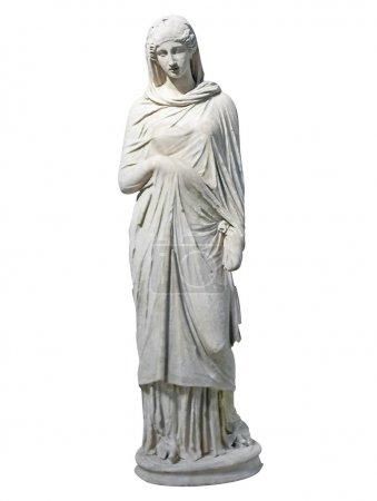 Old marble statue of a young woman