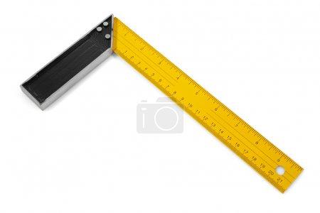Photo pour Carré métallique noir et jaune isolé sur blanc avec chemin de coupe - image libre de droit