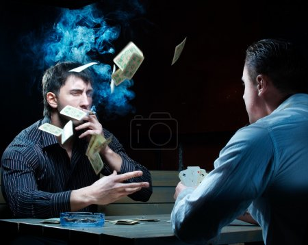 Two gamblers with cards