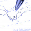 Closeup of stock chart showing gains or regbound w...