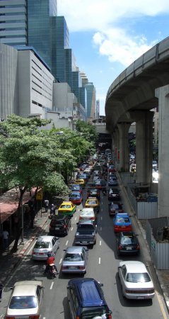 Heavy traffic in Bangkok