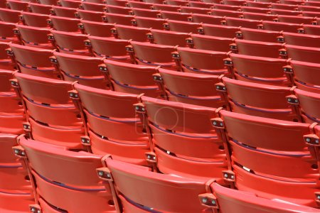Red plastic seats, rear