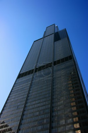 Sears tower from below on blue sky