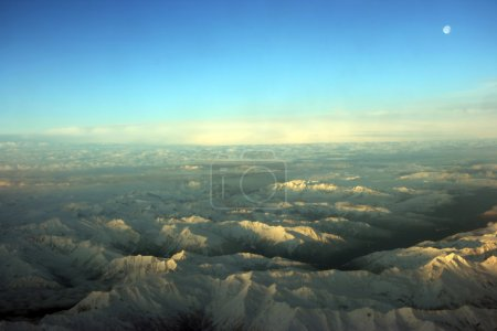 Photo for Flying over white mountains at sunset, Midwest USA - Royalty Free Image