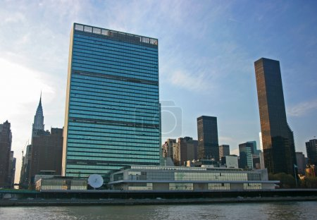 Photo pour Siège de l'ONU de l'east river, manhattan, new york - image libre de droit