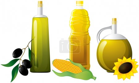 Illustration pour Set d'huile de bouteille avec olive, maïs et tournesol - image libre de droit
