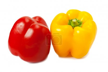 Photo for Yellow and red peppers, isolated on white background - Royalty Free Image