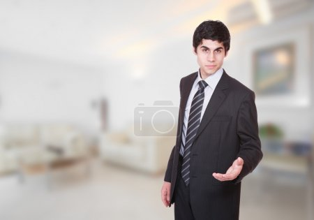 Male hotel manager in the lobby