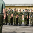 Soldiers getting ready for military parade in Russian army