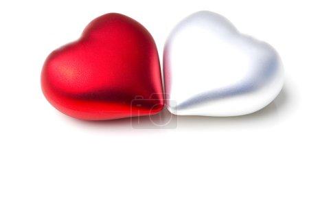 Pair of hearts emotional love symbol