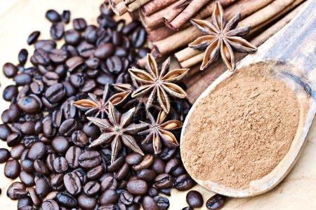 Anise stars, cinnamon and coffee beans