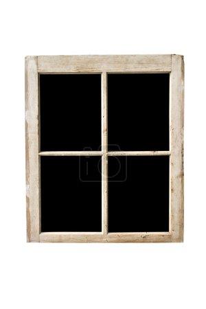 Photo pour Ancien cadre de fenêtre résidentiel isolé sur blanc avec des vitres noircies . - image libre de droit
