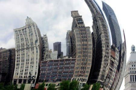 Distorted buildings reflection