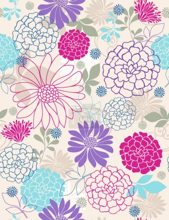 Photo for Hand Drawn Flowers and Leaves Seamless Repeat Pattern Vector Illustration. Image tiles seamlessly, perfect for backgrounds, textiles, wrapping paper and more! - Royalty Free Image