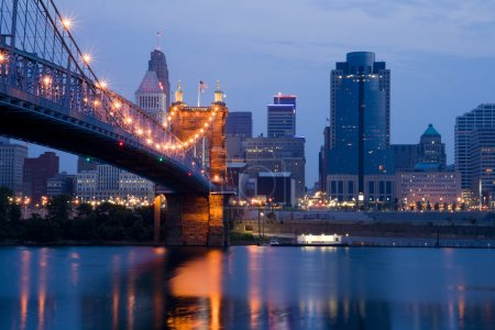 Cincinnati skyline and Roebling Suspension Bridge ...