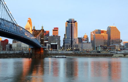 Downtown Cincinnati, Ohio and the John A. Roebling...