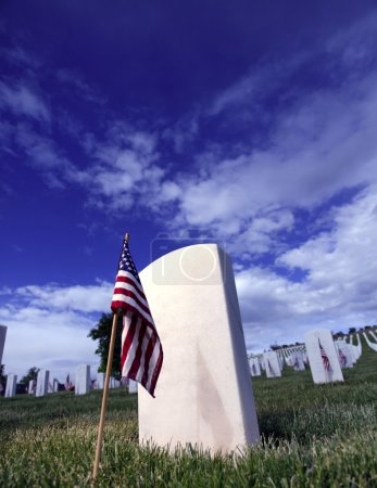 Grave Marker of Soldier with American Flag in a