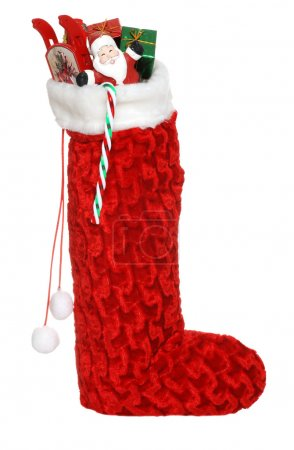 Christmas sock filled with toys an candy