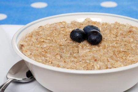Closeup oatmeal with blueberries