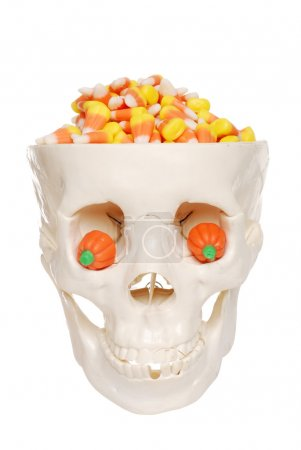Skull filled candy corn and pumpkin eyes