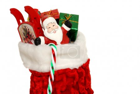Christmas sock filled toys and present