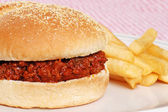 Closeup sloppy joe with french fries