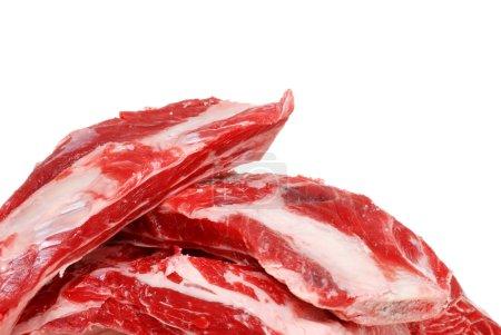 Closeup raw beef spare ribs