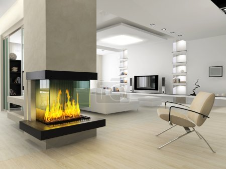 Photo pour Interior of a room with a fireplace and a kind on a drawing room - image libre de droit