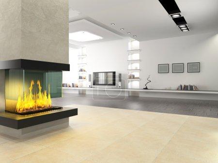 Photo pour Intérieur d'une pièce sans meubles, avec une cheminée - image libre de droit