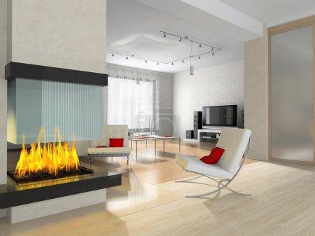 Photo pour Intérieur d'une salle avec une cheminée et un fauteuil - image libre de droit