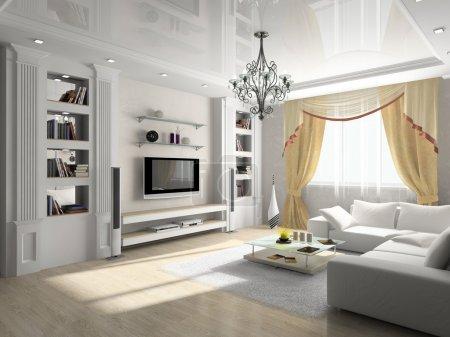Photo pour Intérieur d'une chambre avec des meubles rembourrés - image libre de droit