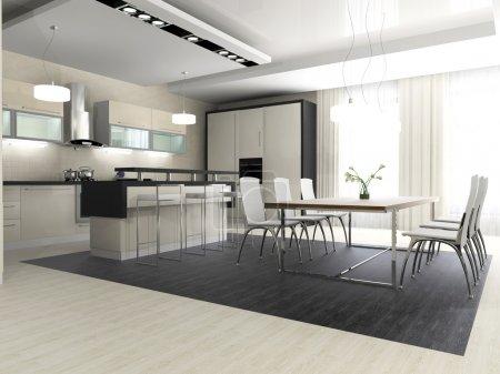 Photo pour Intérieur moderne de cuisine et salle à manger - image libre de droit