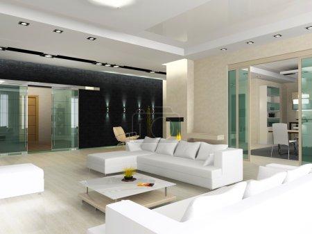 Photo pour Intérieur d'une salle de dessin avec l'aspect sur la cuisine et une salle de - image libre de droit