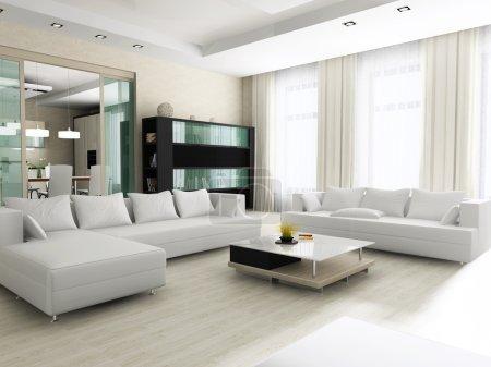 Photo pour Intérieur d'un salon avec des meubles rembourrés, revêtu d'un matériau blanc - image libre de droit