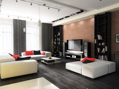 Photo pour Intérieur moderne, d'un salon avec des meubles rembourrés - image libre de droit