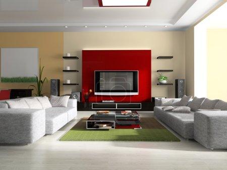 Photo pour Intérieur d'une chambre avec canapé, tv et meubles - image libre de droit