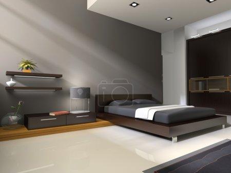 Photo pour Intérieur moderne dans les chambres avec lit et placard - image libre de droit