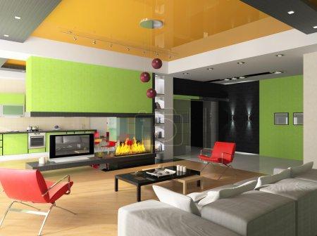 Photo pour Intérieur d'une salle avec une cheminée et d'une forme sur une zone de cuisine - image libre de droit