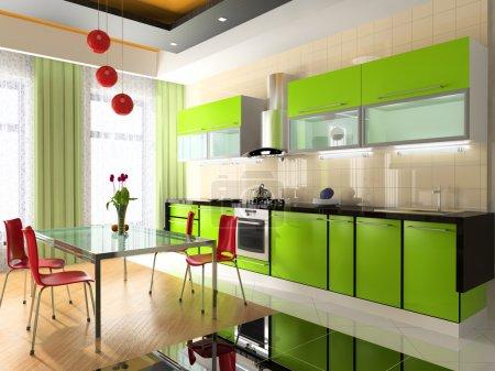 Photo pour Intérieur moderne de la cuisine - image libre de droit