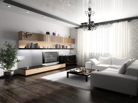 Photo pour Intérieur d'une chambre avec des meubles modernes - image libre de droit