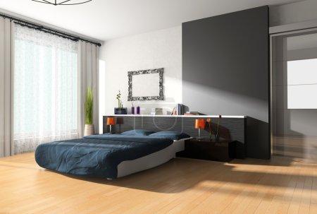 Photo pour Intérieur moderne d'une chambre avec l'illumination d'un lit - image libre de droit