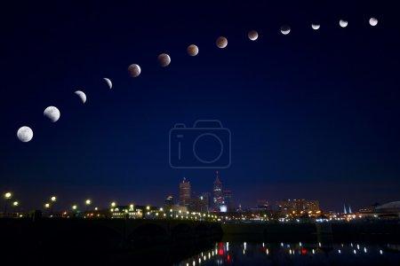 Затмение луны над городом