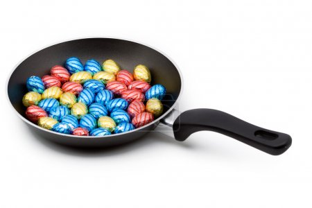 A pan filled with chocolate easter eggs