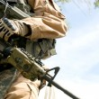 US soldier in camouflage uniform holding his rifle...