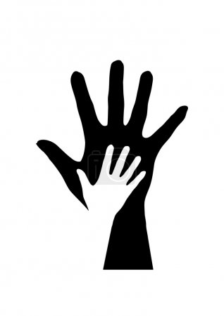 Illustration for Two hands silhouette. Illustration on white background. - Royalty Free Image