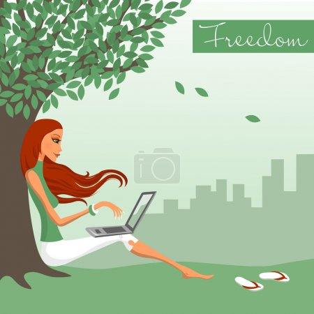 Illustration for The girl sitting under a tree with the laptop - Royalty Free Image